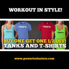 Workout in style! During the month of August, use the promo code Train20 when you buy select Power Train T-shirts & Tanks at powertrainstore.com and get the second one 1/2 off!  *Offer expires midnight on August 31, 2015. Not valid on Under Amour products. See Power Train Store for details and select styles.