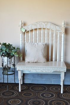 Items similar to Repurposed Bench.ThE GatEwaY on Etsy Refurbished Furniture, Upcycled Furniture, Outdoor Furniture, Outdoor Decor, Upcycled Home Decor, Repurposed, Crib Bench, Wedding Bench, Vintage Bench