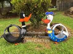 Read Message - tampabay.rr.com Tire Planters, Garden Planters, Reuse Old Tires, Painted Tires, Tire Furniture, Tire Craft, Tire Garden, Used Tires, Tire Swings