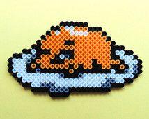Hama/Perler/Fuse Bead Kawaii Sanrio/San X Inspired Gudetama Unmotivated Egg Pixel Art Bead Sprite, 8 Bit, 8 Bit Art, Kawaii, Decorative