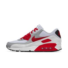 Nike Air Max 90 By You Custom Men's Shoe Nike Air Force, Nike Air Max, Air Max Sneakers, Sneakers Nike, Nike Co, Air Max 1, Shades Of Red, Soft Suede, Custom Shoes