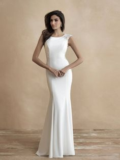 Cap sleeve crepe sheath with ornate beaded lace back available off-the-rack at Silk Bridal Studio. Top Wedding Dresses, Perfect Wedding Dress, Designer Wedding Dresses, Bridal Dresses, Wedding Gowns, Bridesmaid Dresses, Modest Wedding, Bridesmaids, Prom Dresses