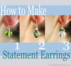 How to make pretty dangle style earrings easily.  {InMyOwnStyle.com}  How to make jewelry.
