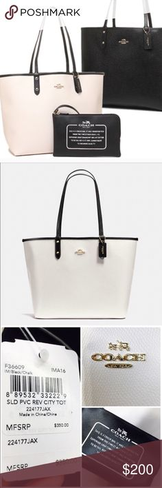 Coach NWT reversible City Tote - chalk / black This classy classic tote is chalk on one side and black on the other side. Comes with FREE black pouch (larger than their traditional wristlet) Each side features the beautiful gold tone metal coach logo. ❤️ perfect for work, the airplane, or back to school to carry books, a laptop or iPad. ✏️ Coach Bags Laptop Bags