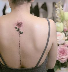 extraordinary back flower spine tattoo for you to choose - page Flower Spine Tattoos, Pretty Flower Tattoos, Rose Tattoos, Beautiful Tattoos, Body Art Tattoos, New Tattoos, Small Tattoos, Tatoos, Back Tattoo Women Spine