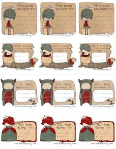 Lovely bookplates labels, free to print