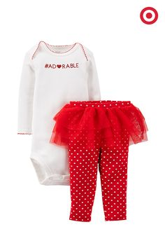 """""""Adorable"""" is the word (in glittery red letters, of course) for this two-piece set from Just One You made by Carter's. Layer heart-print tutu leggings over the coordinating bodysuit for a first Valentine's Day outfit that has tons of cute appeal."""