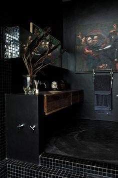 Private Home design, black bathroom