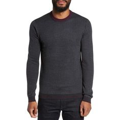 Men's Ted Baker London Parvine Crewneck Sweater (€150) ❤ liked on Polyvore featuring men's fashion, men's clothing, men's sweaters, grey marl, mens gray sweater, mens grey sweater, mens sweaters, mens crew neck sweaters and mens crewneck sweaters