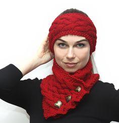 Knitting Headband Hand Knit Headband Red Knitted Hair by Solandia, $22.00