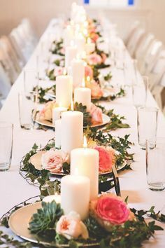 Image result for centerpieces with greenery round tables
