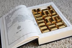 Hide chocolate (or candy) in a book for a fun surprise. I could do this for the pictures!!! -b est christmas present.