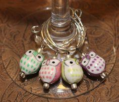 Owl Wine Charms