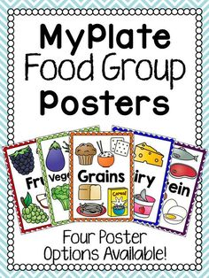 kids nutrition MyPlate Food Group PostersSet of food group posters to decorate your classroom or use during a MyPlate unit. Each poster has the name and clip art of each food group (Fru Nutrition Education, Sport Nutrition, Nutrition Sportive, Nutrition Month, Nutrition Activities, Nutrition Guide, Nutrition Plans, Kids Nutrition, Health And Nutrition
