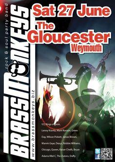 BrassMonkeys gig 27 June The Gloucester Weymouth Mark Ronson, Party Rock, Robbie Williams, Lenny Kravitz, Marvin Gaye, Gloucester, Green Day, Rock And Roll, June