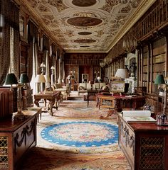 The library hall inside the Duke of Devonshire's home, Chatsworth House, in Derbyshire, England, photographed by Simon Upton.