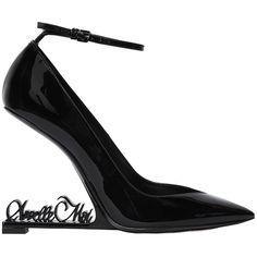 Saint Laurent Women 110mm Opium Appelle Moi Patent Pumps (3.945 BRL) ❤ liked on Polyvore featuring shoes, pumps, black, black patent shoes, yves saint laurent pumps, patent shoes, black patent leather shoes and adjustable shoes