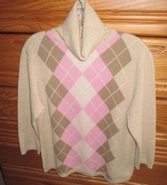 Available in our Ebay store..click photo for details!  Valerie Stevens 2 Ply 100% Cashmere Argyle Pattern Turtleneck Sweater Womens XL #ValerieStevens #TurtleneckMock #cashmere #argyle #sweater #pink