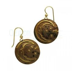 Gold And Bronze Crescent Earrings