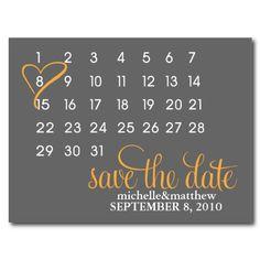 Orange & Gray Calendar Wedding Announcement Postcards