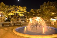 Authentic John Kalad digital photo of the Downtown Naperville Riverwalk Dandelion Fountain at night by JohnKaladPhotography, $65.00