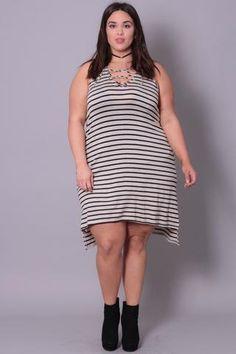 Plus Size Tie-Front Striped Dress - Black / Oatmeal