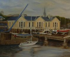 """National Yacht Club - Dun Laoghaire"" by Nuala Holloway - Oil on Canvas Irish Art, Yacht Club, Dublin, Seaside, Oil On Canvas, Mansions, House Styles, Mansion Houses, Beach"