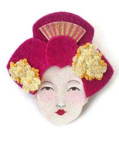 Geisha Felt Brooch, Fabric Brooch, Art Brooch, Wearable Art Jewelry