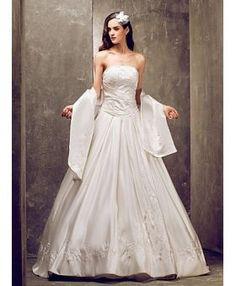 DINAH - A-line Strapless Chapel train Satin Wedding dress