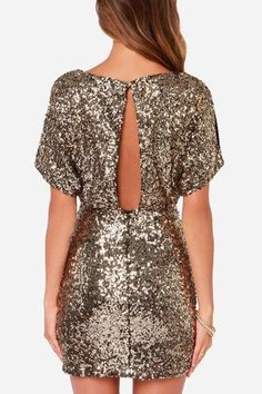 Shine On Bodycon Dress in Gold