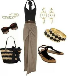 Black halter top with brown skirt