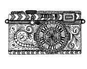 Camera Zentangle Drawing
