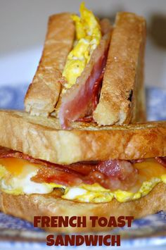 Toast Sandwich French Toast Sandwich Recipe - Voted Kid's Favorite Breakfast and easiest for moms! Bacon, Eggs, French Toast, and Cheese? Breakfast Sandwich Recipes, Breakfast Toast, Breakfast Dishes, Breakfast Cheesecake, French Toast Sandwich, Egg Recipes, Brunch Recipes, Cooking Recipes, Brunch Ideas