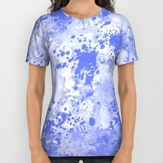 Blue Watercolor Paint Splatter Abstract All Over Print Shirt by Judy Palkimas   Society6
