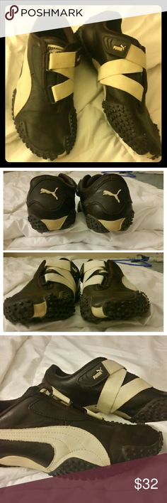 Pristine Brown Leather Puma Sneakers Almost new, ultra comfy womens sneakers work for the gym or are cute with jeans.   Elastic cross velcro strap Leather upper  Rubber tread almost zero signs of wear Rubber bumpers that extend over toe and on sides Excellent condition  True to size Padded sole Puma Shoes Athletic Shoes
