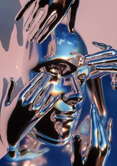 Crystal face with multiple hands reaching for it. by AvantForm Contributor fvckrender Kunst Inspo, Art Inspo, Rocknroll, Futuristic Art, Animation, Wow Art, Graphic Design Posters, Aesthetic Art, Vaporwave