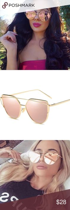 """Rose Gold Mirror Cat Eye Sunglasses Make your look shine even brighter with these Cateye Sunglasses. The trendy gold frame and rose gold lenses add a contemporary feel, while the oversized cateye shape brings the '50s style we all love. Type:Sunglasses  Gender:Women Lens Width:approx-2.25"""" Lens Height:approx-2"""" Material:Alloy Lenses Material:PolycarbonateLens  Lenses Optical Attribute:Mirror,Anti-Reflective,UV400 Style:Cat Eye Color-Rose Gold/Pink NWOT-New without tags, never worn…"""