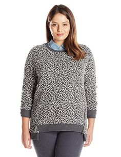 BB Dakota Womens PlusSize Klya Printed Long Sleeve Top Dark Charcoal 2X *** You can get more details by clicking on the image.Note:It is affiliate link to Amazon.