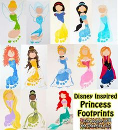Disney Princess Footprints We just love footprint crafts and my kids are so in love with everything Disney as most kids are, so we decided to come up with several Disney inspired footprints for fun. Baby Crafts, Toddler Crafts, Crafts To Do, Preschool Crafts, Kids Crafts, Disney Crafts For Kids, Toddler Art, Disney Diy, Crafts For Girls
