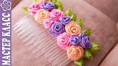 DIY Folded Ribbon Rose Hair comb - - Гребень с маленькими розами из лент / Видео Куликовой
