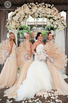 Gatsby theme wedding, bride and bridesmaids Gatsby Wedding Dress, Great Gatsby Themed Wedding, Roaring 20s Wedding, 1920s Wedding, Wedding Bridesmaid Dresses, Brides And Bridesmaids, Wedding Ideas, 1920s Party, Moon Wedding