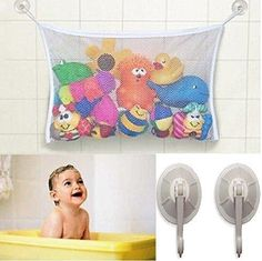 #1 Rated Baby/Todder Bath Tub Toys Organizer - Large Storage/Bag for Toys Even as a Shower Caddy  2 Extra Strong Suction Cups! Mold Free Playtime!