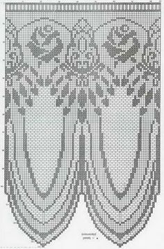 Crochet Curtain Pattern, Crochet Basket Pattern, Crochet Curtains, Curtain Patterns, Filet Crochet, Crochet Diagram, Crochet Lace, Diy Crafts Rose, Yarn Crafts