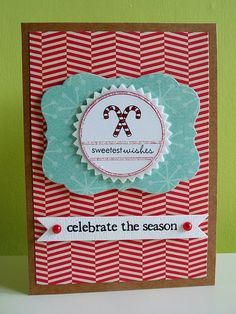 """CAS holiday card - great idea for using any of the """"tag"""" type stamps"""