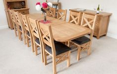 Country oak 12 seat dining table large x leg | Home Interiors