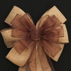 Burlap and Brown Sheer Wire Edge Rustic Wedding Pew Bows Church Aisle Decorations on Etsy, $7.99