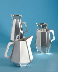 A set of geometric pitchers by Dutch designer Piet Hein Eek.