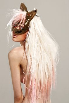 Catwoman Fashion blonde bleached pink peach tipped dip dyed chalked hair feathers Photoshoot Inspiration, Hair Inspiration, Masquerade Ball, Fashion Photography, Hair Makeup, Braids, Hair Beauty, Hairstyle, Glamour