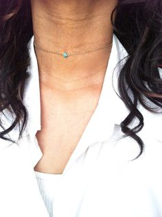 Simple Turquoise Choker Gold Choker Chain Tiny by ivolvebeauty