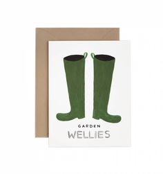 Wellies Available as a Single Folded Card or Boxed Set of 8